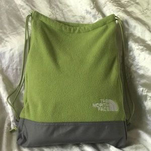 The North Face Fleece Drawstring Backpack Green